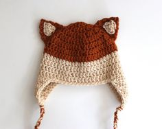 Crochet Fox Hat by PeakDesignsShop via Etsy