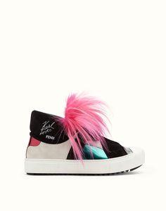 FENDI | KARLITO SNEAKERS multi-coloured with azalea pink fur