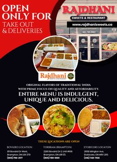 Rajdhani Sweets & Restaurant is open for only for takeout & deliveries! Original flavors of traditional India with prime focus on quality and affordability. Entire menu is indulgent, unique and delicious. Take Out, Vegetarian Recipes, Delivery, Menu, Sweets, Restaurant, Pure Products, Traditional, The Originals