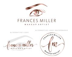 Lashes logo, Eyelash logo, Cosmetics logo, Premade Branding Kit, Eye logo, Watermark, Rose Gold logo, Logo Design, Stamp, Logo package, 125