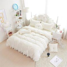 Amazon (コフェイス)Coface 寝具カバーセット セミダブル 布団カバーセット ベッドスーツ 枕カバー 4点カット かわいい 姫系 レース 綿100 白 寝具カバーセット オンライン通販