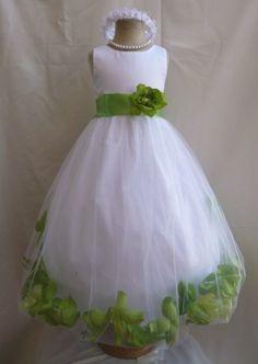 Flower Girl Dress WHITE/Green Apple PETAL Wedding Children Easter Bridesmaid Communion Green Sage Apple Gold Fuchsia Burgundy Brown