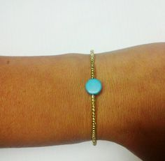 Teal and Gold Beaded Bracelet by OneSEC on Etsy, $7.50