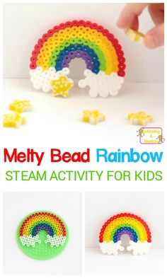 Kids can boost pattern skills, design skills, and fine motor skills with this super-fun and super-colorful Perler bead rainbow! Kids can boost pattern skills, design skills, and fine motor skills with this super-fun and super-colorful Perler bead rainbow! Bead Loom Patterns, Beading Patterns, Knitting Patterns, Jewelry Patterns, Art Patterns, Perler Patterns, Color Patterns, Embroidery Patterns, Jewelry Ideas
