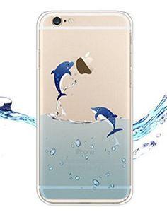 iPhone 4 / 4S Cover , YIGA Delfino Blu Mare Trasparente Silicone Cristallo Morbido TPU Case Custodia per Apple iPhone 4 / 4S