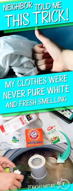 My Clothes Were Never Pure White and Fresh Smelling after Washing, then my Neighbor told me This Trick! My Clothes Were Never Pure White and Fresh Smelling after Washing, then my Neighbor told me This Trick! Household Cleaners, Diy Cleaners, Cleaners Homemade, Household Tips, Household Products, Household Chores, Cleaning Recipes, Cleaning Hacks, Cleaning Supplies