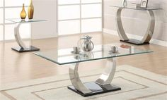 Black Chrome Glass Metal Coffee Table Sets