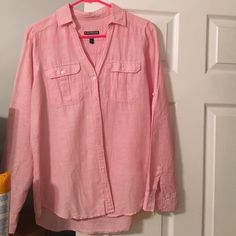 Express Cotton Portifino! Only worn 2 times, this is a pink cotton Portifino shirt! Much more casual than the average blouse material! Express Tops Button Down Shirts