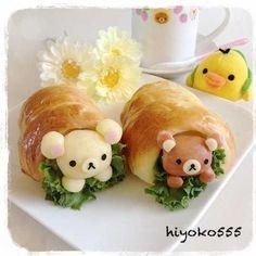 日本人のごはん/お弁当/パン Japanese meals  リラックマやどかりパン Rilakkuma Bread Bento