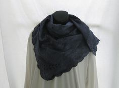 Dark blue linen hand dyed shawl, repurposed vintage linen wrap, Blue linen, boho, romantic scarf, summer blue shawl, trendy denim lace by thelavenderpear on Etsy