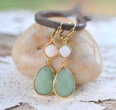 Jade Green Teardrop and White Diamond Jewel Dangle Earrings in Silver. Fashion Earrings. Bridesmaid Earrings. Drop Earrings.