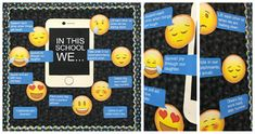This bulletin board will certainly catch the eye of your students and parents. Includes 7 emoji's, modeled after the popular iPhone app, in high resolution for crystal clear printing, as well as 7 sayings. Also includes 2 blank bubbles for you to create your own unique classroom slogans!