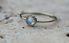 Rainbow Moonstone ring in 14k white gold moonstone by ARPELC
