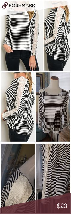 """Black & White striped lace trim top Black and white striped casual, comfy top. Relaxed fit. White lace trim sleeve detail. 95% viscose 5% spandex. Relaxed fit. Soft and stretchy. SMALL: 22"""" pit to pit. 21"""" long in front 24"""" long in back. MEDIUM: 23"""" pit to pit. 22"""" long in front 25"""" long in back. LARGE: 24"""" pit to pit. 23"""" long in front 26"""" long in back. CupofTea Tops"""