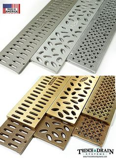 3 inch aluminum and bronze decorative grates for NDS mini-channel Drainage Grates, Surface Drainage, Backyard Drainage, Backyard Patio, Landscape Drainage, Driveway Drain, Driveway Landscaping, Home Safety Checklist, Trench Drain Systems