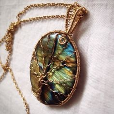 Sold. Gold plated wire wrapped labradorite tree of life. Www.etsy.com/BlackRoseChris