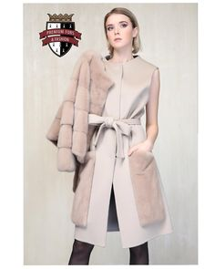 On The Edge of Fashion: Long Cashmere Vest Coat with Mink Pockets And Mink Jacket. 2 in 1. Made in F - premiumfurs_dubai
