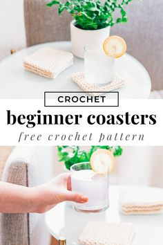 Free crochet pattern for textured Crochet Coasters. These are made with beginner techniques and tutorial for easy beginner crocheting. Crochet Potholder Patterns, Crochet Coaster Pattern, Modern Crochet Patterns, Crochet Designs, Knitting Patterns, Crochet Ideas, Beginner Crochet Tutorial, Beginner Crochet Projects, Crochet For Beginners