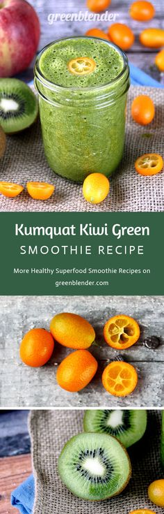 Kumquat Kiwi Green Smoothie Recipe by Green Blender: Kumquats are a small tart citrus fruit native t Nutritious Smoothies, Healthy Green Smoothies, Good Smoothies, Green Smoothie Recipes, Healthy Drinks, Kumquat Recipes, Kiwi Smoothie, Healthy Shakes, Delicious Vegan Recipes