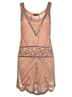 vintage 20s all over beaded short dresses | Miss Selfridge Nude embellished flapper dress £70.00