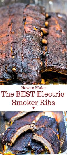 How to Make the BEST Electric Smoker Ribs - Dry rub ingredients, smoke, and tim. - How to Make the BEST Electric Smoker Ribs – Dry rub ingredients, smoke, and time work together t - Smoked Rib Tips Recipe, Rib Roast Recipe, Pork Rib Recipes, Grilling Recipes, Grilling Ideas, Ribs In Electric Smoker, Ribs On Gas Grill, Ribs On Smoker, Electric Smoker Recipes
