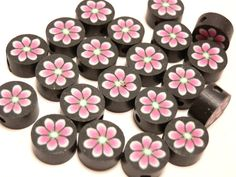 20 Fimo Polymer Clay Round Flat Beads Colorful Pink fuschia Flowers  10mm. $3.99, via Etsy.
