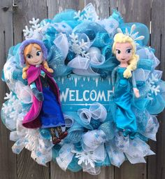 This is the Ultimate Frozen Wreath! If your a Fan of Frozen then you will definitely appreciate all the wonderful Frozen Inspired work that went