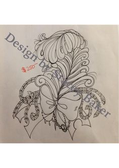 Feather and bow tattoo design Bow Tattoos, Sugar Skull Tattoos, Girly Tattoos, Feather Tattoos, Garter Tattoos, Rosary Tattoos, Heart Tattoos, Bow Tattoo Designs, Tattoo Bracelet