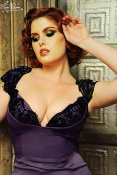 Isabelle Dress in Purple Reign Satin with Black Lace