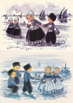 vintage Dutch costume postcards