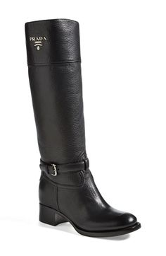 "Free shipping and returns on Prada Logo Riding Boot (Women) at Nordstrom.com. 1 1/2"" heel (size 38.5) <br>16"" boot shaft; 13 1/2"" calf circumference<br>Leather upper, lining and sole.<br>By Prada; made in Italy.<br>Salon Shoes."