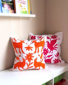 Beautiful square pillow cover, Otomi embroidered on vibrant orange color, handmade by a native from the Tepehua community, Hidalgos Otomi area.