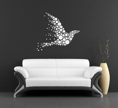 Flying Birds Wall Decor tree branch wall sticker with falling leaves, flying and perched
