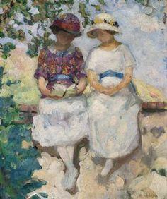 Vézillon, deux jeunes filles assises sur un mur - Henri Lebasque