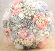 Brooch Bouquet Jeweled Wedding Bouquet Blush Pink  by SolBijou,