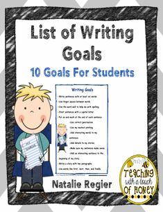 List of Writing Goals #editableprintables #freeprintables