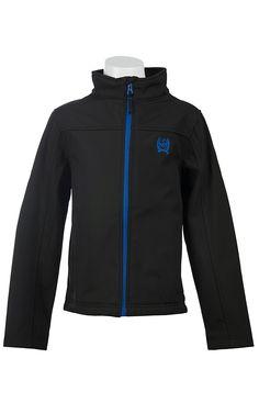 Cinch® Boy's Black with Blue Logos Bonded Jacket J7440001