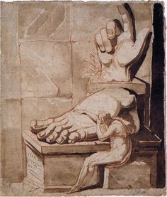 "Henry Fuseli, ""O artista conmovido pola grandeza das ruínas antigas"" (entre 1778 e 1779). Is a drawing in red chalk with brown wash. It depicts an artist's response to ruins, namely those of the Colossus of Constantine at the Capitoline Museums in Rome.  https://en.wikipedia.org/wiki/The_Artist%27s_Despair_Before_the_Grandeur_of_Ancient_Ruins"