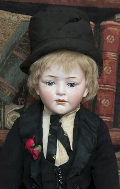 """18"""" (46 cm) Very Rare Antique All-Original German Bisque Art Character doll, 149, with Glass Eyes, by Hertel & Schwab, excellent condition, c.1910"""