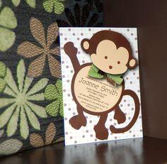 Mod MONKEY Baby Shower Invitation and BONUS by SassyPartyDesigns, $15.00