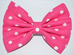 Bright Pink Polka Dot Hair Bow from DreamingOfBows on Etsy