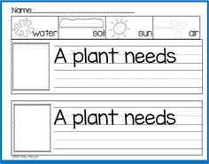 """""""A Plant Needs....."""" (free; from Sharing Kindergarten via Freebielicious)"""