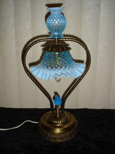 FENTON+RARE+BLUE+HOBNAIL+OPALESCENT+LAMP+
