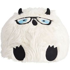 PB Teen Yeti Faux-Fur Critter Beanbag, Large Slipcover ($169) ❤ liked on Polyvore featuring home, furniture, bean bag, beanbag furniture, round bean bag, woven furniture and pbteen