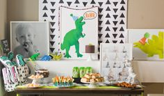 Modern Neon Dinosaur First Birthday Party-Table decor-The Turnage's