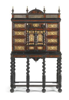 A FLEMISH GILT-BRASS-MOUNTED, BONE-INLAID, EBONY, EBONISED AND TORTOISESHELL CABINET-ON-STAND, ANTWERP THE CABINET SECOND HALF 17TH CENTURY, THE STAND 19TH CENTURY