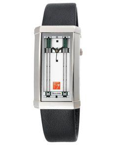 Bulova Women's Frank Lloyd Wright Willits Leather Strap Watch Amazing Watches, Beautiful Watches, Cool Watches, Watches For Men, Dream Watches, Wrist Watches, Stylish Watches, Casual Watches, Fitness Watches For Women
