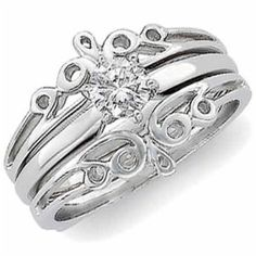 14K White Gold Designer Style Ring Guard Enhancer Wedding Ring Finger REVIEW