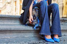wide leg jeans + blue