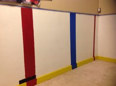Hockey bedroom.  Looks like these people didn't bother to tape off those lines and butchered them but the idea is cute
